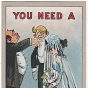 """Artist Signed C V Dwiggins """"You Need a 'Bride' and You Know It"""" Vintage Comic Postca"""
