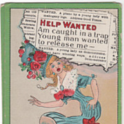 """Artist Signed C V Dwiggins """"Help Wanted"""" Woman in a Bear Trap Vintage Comic Postcard"""