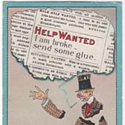 "Artist Signed C V Dwiggins ""Help Wanted"" Mand Broken into Pieces Vintage Comic Postc"