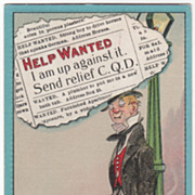"Artist Signed C V Dwiggins ""Help Wanted"" Man Leaning Against a Light Pole Vintage Co"