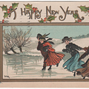 SOLD Artist H B Griggs Skaters on Pond Holly New Year Vintage Postcard