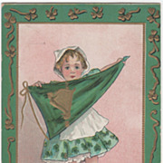 Artist Signed H B Griggs Little Girl with a Harp Pennant Vintage St Patrick's ...