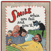 """Artist Signed C V Dwiggins People Crying around a Man in Bed """"Smiles"""" Series Vintage"""