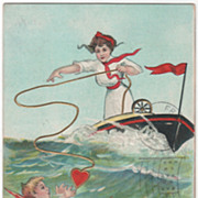SOLD Artist Signed H B Griggs Woman Throwing Cupid a Life Line Vintage Valentine Postcard