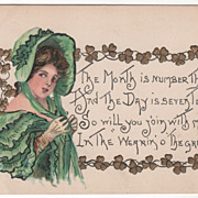 Artist Signed H B Griggs Woman in Green Vintage St Patrick's Day Postcard