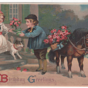 Birthday Greetings Boy and Pony with Baskets of Roses Vintage Birthday Postcard