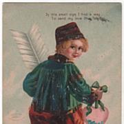 SOLD Artist Signed M. Greiner Dutch Boy with a Pink Heart Dutch Children Series Vintage Postca