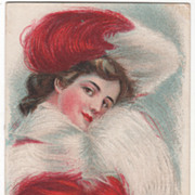 Lady In Red and White Vintage Glamour Lady Postcard