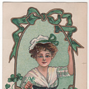 Artist Signed H B Griggs Woman and Basket of Clover Vintage St Patrick's Day ...