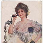 """Artist Signed Archie Gun Woman on Telephone """"Hello"""" Vintage Glamour Lady Postcard"""