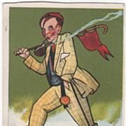 "Artist Signed August Hutaf ""The College Boy"" Vintage Comic Postcard"