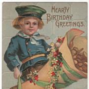 "Dutch Boy with Bag of Gold Coins ""Happy Birthday Greetings"" Vintage Birthday Postcar"
