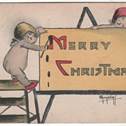 "Artist Signed Two Angels Writing ""Merry Christmas"" on a Card Vintage Christmas Postc"