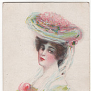 Lady in a Pink Hat and a Yellow Dress Vintage Glamour Lady Postcard