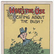 Artist Signed C V Dwiggins Man in a Bush Vintage Comic Postcard