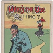 Artist Signed C V Dwiggins Man Sitting on Mile Marker Vintage Comic Postcard