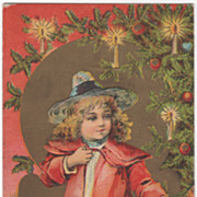 Girl in Hat at Candlelit Christmas Tree Vintage Christmas Postcard