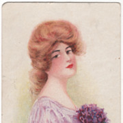 Lady with Red Hair and Violet Bouquet Vintage Glamour Lady Postcard