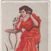 "Lady in Orange Dress on Telephone ""Oh You Rascal!"" Vintage Glamour Lady Postcard"