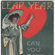 Artist Signed August Hutaf Lady Red Heart Vintage Leap Year Valentine Postcard