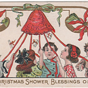 Children Pulling on Ribbons from Bell Vintage Christmas Postcard