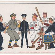"""The Chaplain Umpires the Fleet Championship Game"" Vintage Comic Postcard"