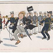 """""""Rendering Honors"""" Fun in the Navy Series - No 2 Vintage Comic Postcard"""