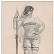 SOLD Artist Signed Farkas Young Woman with a Rowing Oar Vintage Sports Postcard