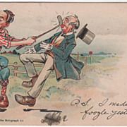 Artist Signed Flohri Man Hitting Man in Nose with Golf Club Vintage Postcard