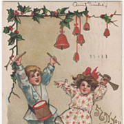 SOLD Artist Signed H B Griggs Boy and Girl Making Music Vintage Christmas Postcard - Red Tag S
