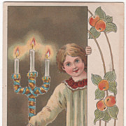 "Artist Signed Max Hanel Altar Boy and Candelabra ""God Jul"" Vintage Postcard"