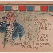 Artist Signed H B Griggs Washington on Telephone Vintage Washington's Birthday