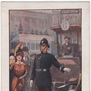 "SOLD Artist Signed Ernest Ibbetson ""A London Policeman"" Vintage Postcard - Red Tag S"
