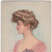 Maud Humphrey Lady with Violets Vintage Glamour Lady Postcard