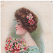 Maud Humphrey Lady in a Blue Dress with Bouquet Vintage Glamour Lady Postcard