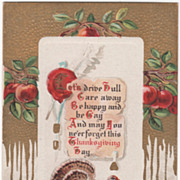 Apples Document with Wax Seal Turkey Gobbler Vintage Thanksgiving Postcard