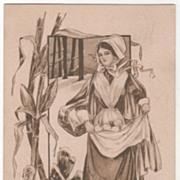 Pilgrim Maid Apron Full of Fruit Turkey Gobbler Vintage Thanksgiving Postcard