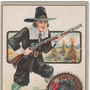 Pilgrim Man with Gun Turkey Gobbler Corn Shocks Vintage Thanksgiving Postcard