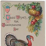 Shield Harvest Bounty Turkey Hen and Gobbler Vintage Thanksgiving Postcard