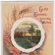 Winsch Country Scene Wheat Leaves Sickle Vintage Thanksgiving Postcard