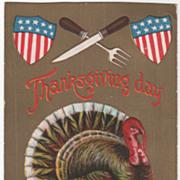 Shields Crossed Knife and Fork Turkey Gobbler Vintage Thanksgiving Postcard