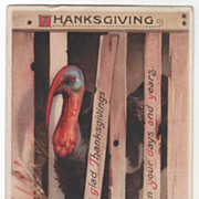 Signed Clapsaddle Turkey Gobbler Head out of Crate Vintage Thanksgiving Postcard