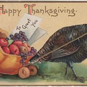 Signed Clapsaddle Turkey Pulling Pumpkin Cart Vintage Thanksgiving Postcard