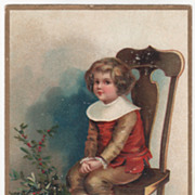 Signed Clapsaddle Boy in a Chair Holly Vintage Christmas Postcard