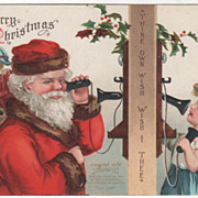 Signed Clapsaddle Santa on Telephone with a Child Vintage Christmas Postcard