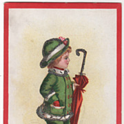 SOLD Signed Clapsaddle Child in Green with Umbrella Vintage Christmas Postcard - Red Tag Sale