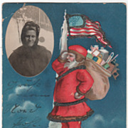 SOLD Signed Clapsaddle Santa Standing on Top of the World Vintage Christmas Postcard