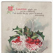 Signed Clapsaddle Basket of Holly Berries Vintage Christmas Postcard