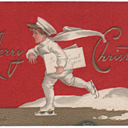 SOLD Signed Clapsaddle Boy in White Ice Skating Vintage Christmas Postcard - Red Tag Sale Item