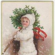Signed Clapsaddle Girl in White with Tree Vintage Christmas Postcard